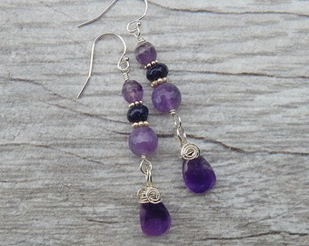 Faceted Amethyst Briolette and Sterling Silver Dangle Earrings - Purple Semiprecious Stone Drop Earrings