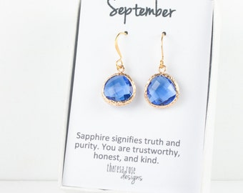 September Sapphire Birthstone Quartz Gold Dangle Earrings, Sapphire Gold Dangle Earrings, September Birthday Gift, Gold Earrings #807