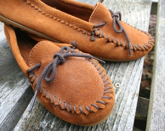 SALE was 28.00  Size 9 Minnetonka shoes moccasins slippers hard soled mocs brown suede
