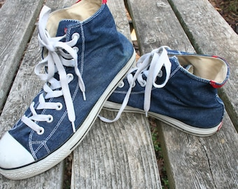 Denim Levi's high top shoes sneakers size US 13 EURO 47.5  UK 12.5 blue