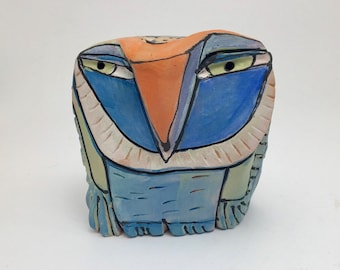 """Owl art, ceramic owl sculpture, whimsical, colorful owl figurine, 4"""" tall, """"Owl Person Dreaming Blue Sky in the Springtime"""""""