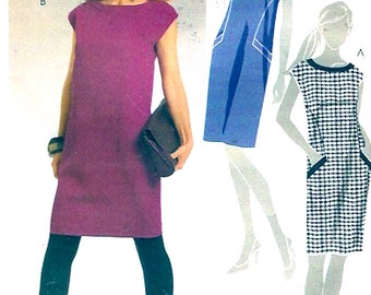 Chic pullover dress cocktail or day wear spring summer sewing pattern McCalls 5701 Sz 6 to 14 UNCUT