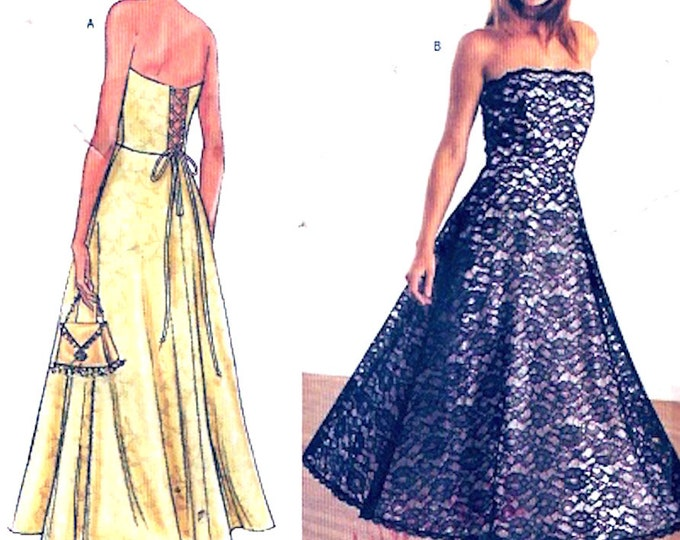 Tea Length dress Strapless Evening wear designer Arianna plus size gown sewing pattern Party New Years Prom Butterick 3768 Sz 18 to 22 UNCUT
