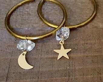 Brass Hoop Dangle Earrings,Gold Moon Star Earrings,Herkimer Diamond Earrings,Raw Crystal,Herkimer Diamond Jewelry,Half Moon,Crescent Moon