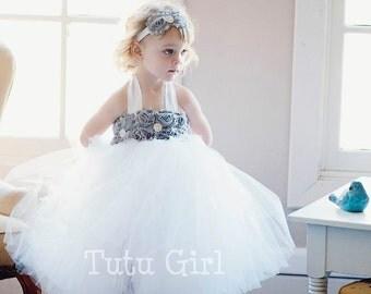 Grey Tutu Dress, Flower Girl Tutu Dress Girls, SEWN White Tutu Dresses,Custom Colors, Gray Flower Girl Dress, Toddler Gray Tulle Dress