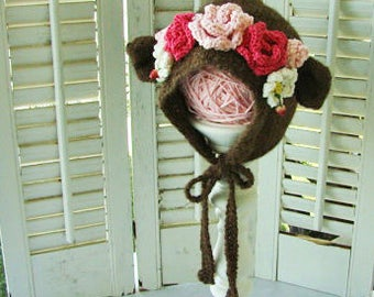 Baby Bear Hat for Girls with Flower Crown Hand Knit in Alpaca Yarn Newborn, Baby or Toddler Bonnets