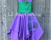 Mermaid Scales Lavender Seashell Handkerchief Dress, Mermaid Birthday Girl Seashell Dress, Mermaid Ariel Princess Dress, Mermaid Outfit