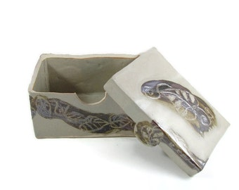 Porcelain Lidded Box with Leaves - Pale Cream - Ready to Ship Today - Handmade Art -  Clay Pottery