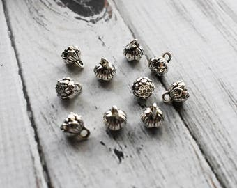 Lotus Pod Charm, Silver Lotus Seed Flower Charm Pendant, Spiritual Buddhist Lotus Flower Jewelry Charm Supply- Set of 10