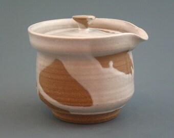 Shiboridashi Teapot (160ml.),  iron-rich stoneware w/ satin white glaze