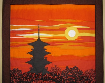 Japanese Masao Ido Pagoda Sunset Glow in Old Capital Kyoto Large Furoshiki Wall Hanging Quilt