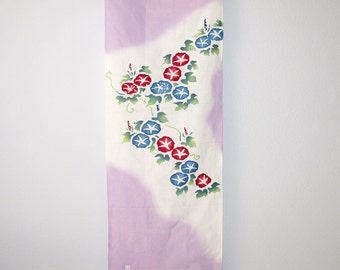 Morning Glories Asagao Design Japanese Fabric Panel Tenugui Lavender
