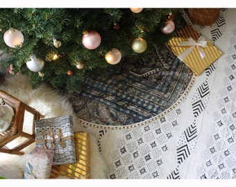 Velvet Tree Skirt Boho Christmas Decor Rug Print Bohemian Tapestry