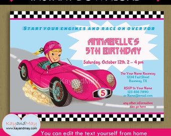 Girl Race Car invitation / INSTANT DOWNLOAD car racing theme birthday printable invite  #P-52 You can edit text from home with Adobe Reader