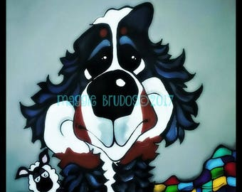 bernese mountain dog  be happy lamb daydream love mothers day decor  bmd 10x10 maggie brudos painting Original whimsical DOG art