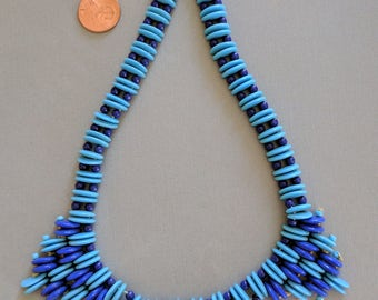16 Inch Vintage West German Necklace, Blue and Aqua with Double Drilled Glass Beads