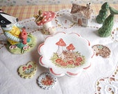 Magnetic Ceramic Pin or Ring Dish, Painted Hedgehog with Red Flowers and Mushrooms