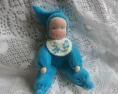 Pocket Doll,Waldorf  Pocket Doll,  Bunting Dolls, Small Dolls,Waldorf Dolls, Waldorf Gnome Dolls, 6 inch doll, Turquoise