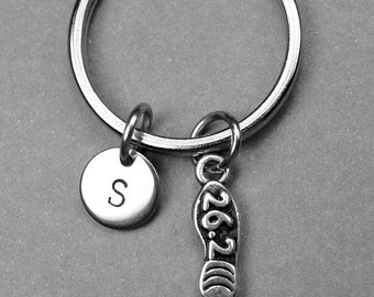 Running shoe keychain, running shoe 26.2, shoe keychain, personalized keychain, initial keychain, runner keychain, customized, running shoe