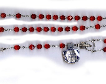vintage red ROSARY beads STERLING english cut vintage glass ornate medal signed sterling all sterling wire and medal too religious gift