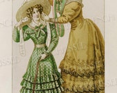 Elegance French Fashion Series 1826 Mother and Daughter Green and Gold Antique Postcard Instant Download