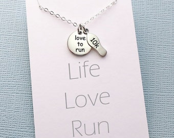 Gifts for Runners | Marathon Necklace | 5K | Running Jewelry | Running Necklace | Marathon Jewelry | Motivational | Sterling Silver | Y08