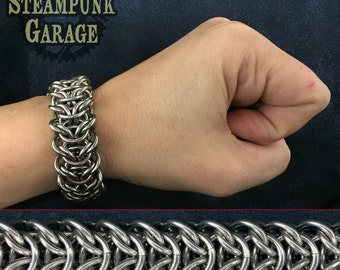 14g Elf Bridge Bracelet - Stainless Steel Chainmaille - NEW WEAVE!