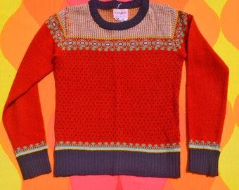 vintage 70s sweater SNOWFLAKE yoke fair isle red knit stripe ski XS Small kid's xl collage man