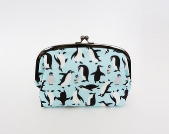 Cosmetic bag, light blue penguin fabric, cotton pouch