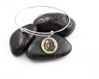 Professor Snape. Alan Rickman. Adjustable Bangle. Harry Potter. Actor. Slytherin. Mixed Metal. Gifts for Her. Brass. Sterling Silver.