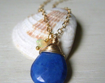 Genuine Lapis Necklace, Goldfilled Chain, Petite Wirewrapped Briolette Royal Blue Gemstone Pendant with Genuine Ethiopian Opal