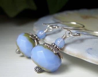 Periwinkle Blue Glass Earrings, Sterling Silver Earrings, Hill Tribe Sterling, Large Rondelle Earrings, Powder Blue Czech Glass Earrings
