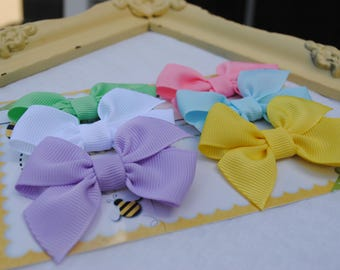 Easter Newborn Baby Bow Collection -Spring Hair Accessory - Infant Hairbow Set - Pastel Hair Clips - No Slip Hair Barrette - Non Slip Bows