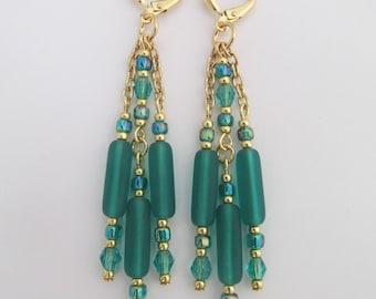 Chain Dangle Chandelier Earrings - Emerald