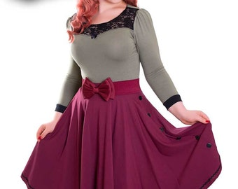 Rockabilly Circle Skirt with buttons Dark Wine Red - BETTY_32