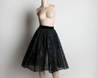 Vintage 1950s Full Circle Skirt - Sheer Black Swirled Velvet with Rainbow Glitter - Open Back Apron Style - Small 24 inch waist