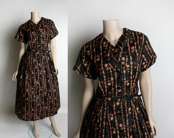 Vintage 1950s Floral Print Dress - Black and Cocoa Brown - Striped Rose Print Cotton Dress - Novelty Print - Fit and Flare Style - Large