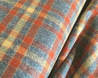 Mammoth Flannel Fabric, Blanket Scarf Fabric, Infinity Scarf Fabric, Hipster Flannel fabric, Rustic Home Decor, Plaid in Rust 179