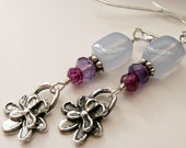 Sterling Silver Pansy Flower Charms Gemstone Violet Chalcedony Amethyst Pink Garnet OOAK Dainty Boho Hippie Chic Gift for Her Earrings