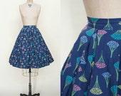 1950s Novelty Print Skirt --- Vintage Blue Skirt