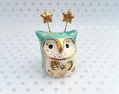 Turquoise Fairy Owl Ceramic Figurine