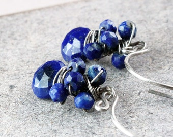 Lapis Drop Earrings Oxidized Sterling Silver Gemstone Jewelry December Birthstone Gifts Dark Blue Earrings  Wire Wrapped Unique Handmade