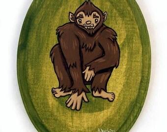 Sasquatch Painting - Original Wall Art Bigfoot Acrylic Miniature Painting on Wood 5x7 Inches by Karen Watkins - Bigfoot Small Art
