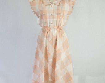 Vintage 80s Shirtwaist Dress Pretty Peach Plaid Lucy Dress