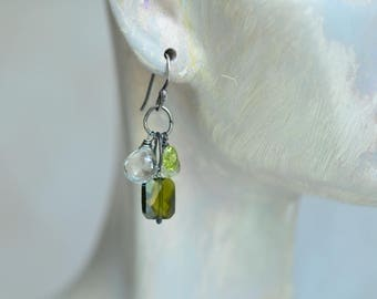 Prasiolite Earrings - Olive Green Cubic Zirconia Earrings - Peridot Earrings - Cluster Earrings - Oxidized Sterling Earrings