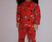 18 inch doll clothes, gingerbread person print doll pajamas, matching handknit slippers, Christmas pyjamas, doll pjs,