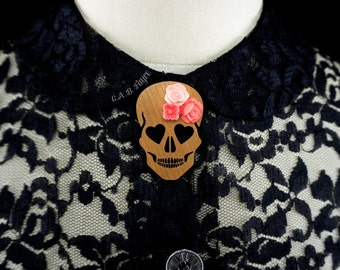Blooming Love Skull Brooch - Cherry Wood - Heart Eyed Skull with Flowers  (C.A.B. Fayre Original Design)