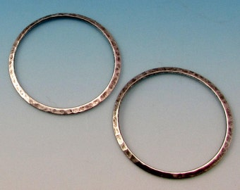 Large Hammered Ring, Antique Silver, 2 pc. AS62-2
