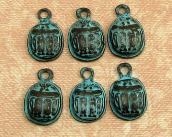 Green Patina Egyptian Scarab Beetle Charm, 14 mm, 6 Pieces, M346