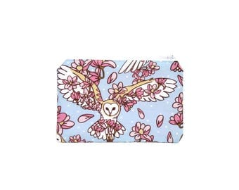CHOOSE SIZE Owl and Blossoms Zipper Pouch / Owl Hedwig and Spring Flowers Camera Bag on Blue / Make Up or Coin Pouch